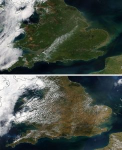 Images of UK before and after heatwave showing brown areas