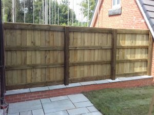 wooden domestic fencing in garden